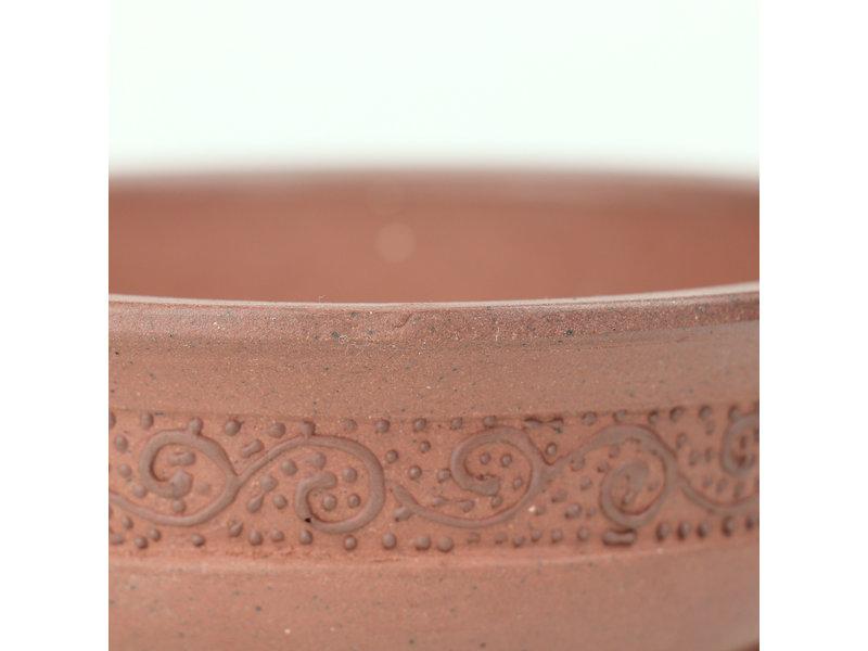 Ovale ongeglazuurde Itou Tonyo bonsaipot - 145 x 129 x 49 mm