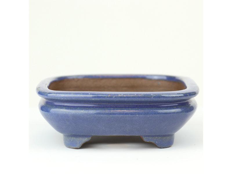 Rechthoekige blauwe Gyouzan bonsaipot - 147 x 124 x 43 mm