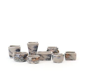 Set of 8  multicolor Seto Yaki pots, approximately 40 mm