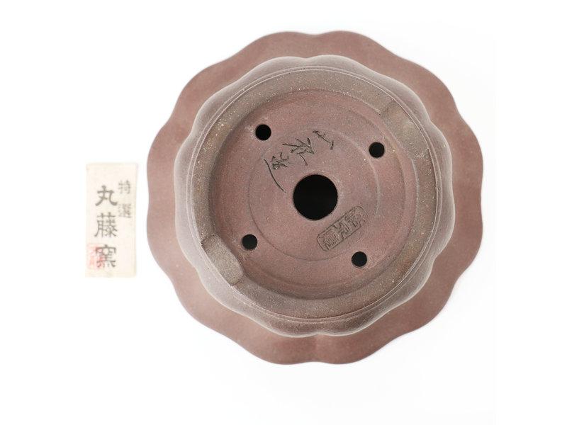 Round unglazed bonsai pot - 185 x 185 x 105 mm