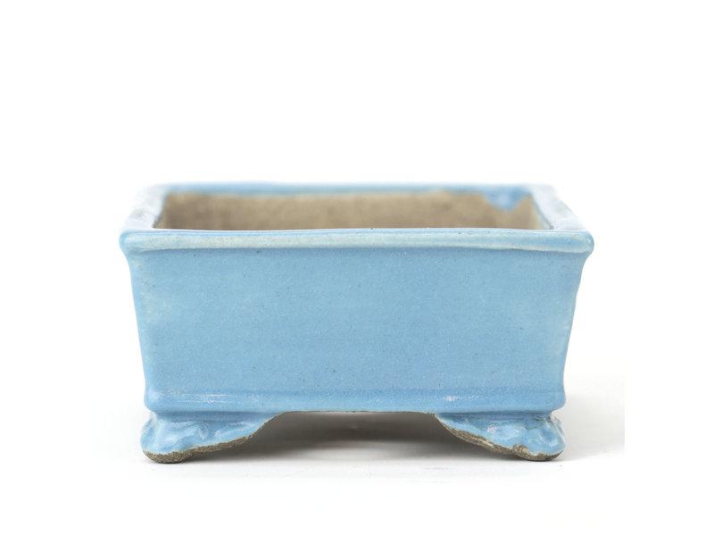 Rechthoekige blauwe Mazan bonsaipot - 102 x 80 x 40 mm