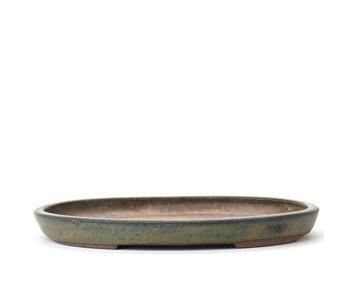 Pot à bonsaï ovale vert 173 mm par Kenzan, Japon