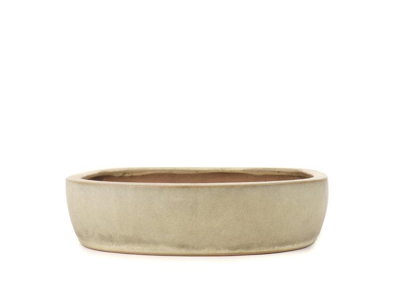 Oval beige Yamafusa bonsai pot - 480 x 360 x 90 mm