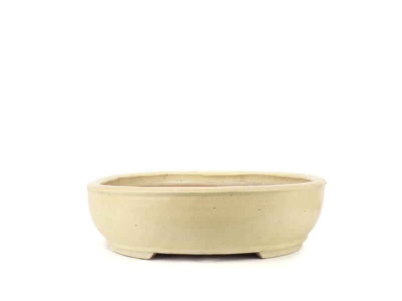 Oval beige Shuhou bonsai pot - 500 x 410 x 100 mm
