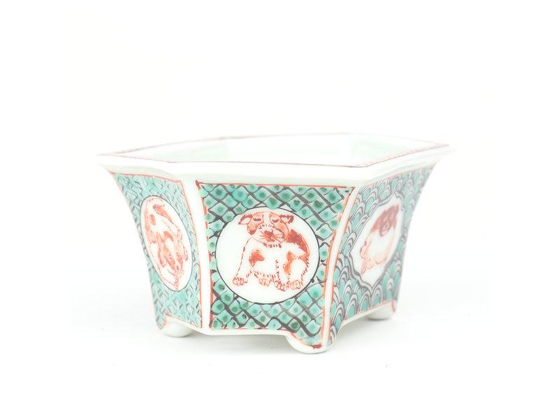 Zeshoekige veelkleurige Itou Tonyo bonsaipot - 128 x 94 x 62 mm
