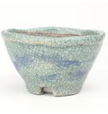 Round Blue/Teal Bunzan bonsai pot - 115 x 115 x 70 mm