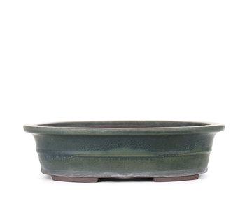 310 mm oval green bonsai pot by Yamaaki, Tokoname, Japan