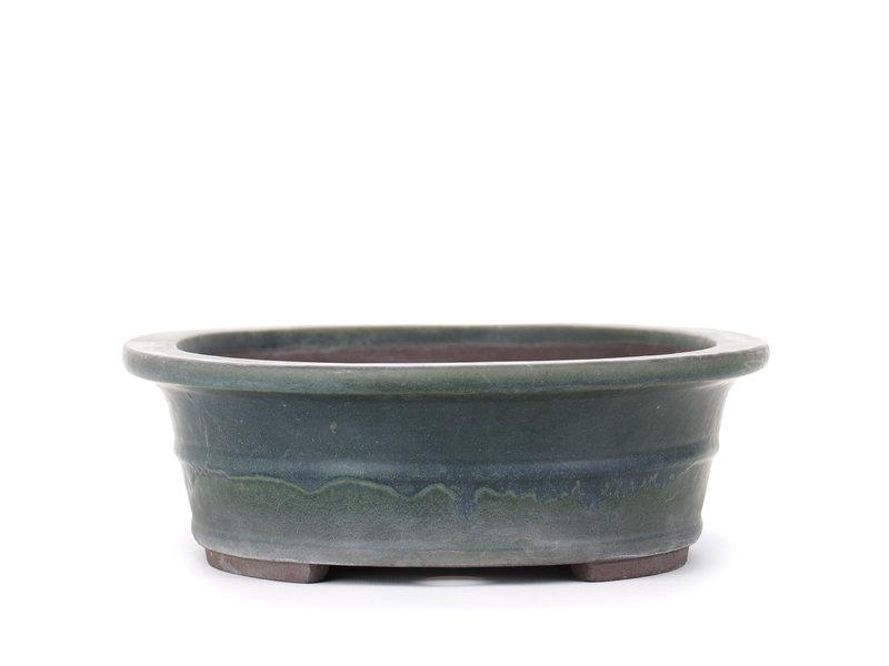 Ovale groene Yamaaki bonsaipot - 310 x 245 x 80 mm