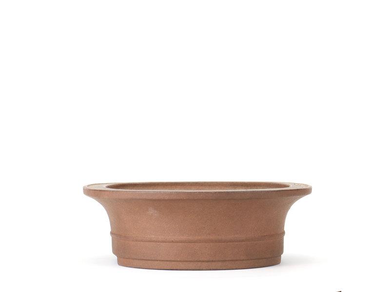 Ovale ongeglazuurde Sheibon-bonsaipot - 285 x 235 x 80 mm