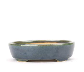130 mm oval blue and green bonsai pot by Yozan, Tokoname, Japan