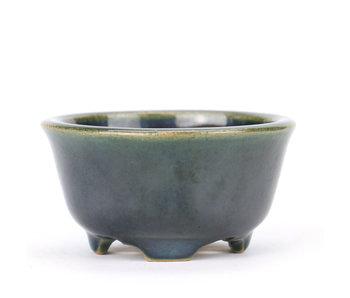 80 mm round blue and green bonsai pot by Yozan, Tokoname, Japan