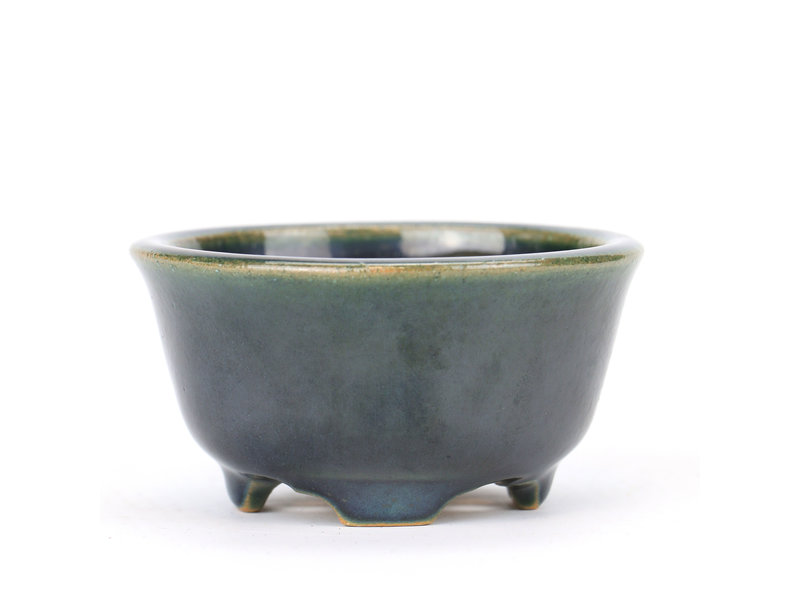 Ronde blauwgroene Yozan bonsaipot - 80 x 80 x 45 mm