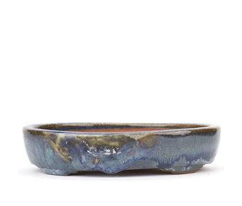 160 mm oval blue bonsai pot by Isho, Tokoname, Japan