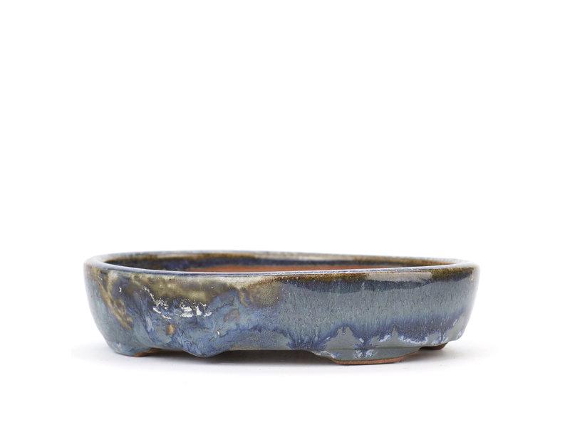 Ovale blauwe Isho bonsaipot - 160 x 125 x 35 mm