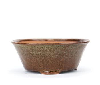 115 mm round brown bonsai pot by Bonsai, Japan