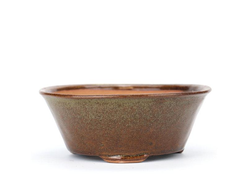 Ronde bruine Bonsai bonsai pot - 115 x 115 x 50 mm