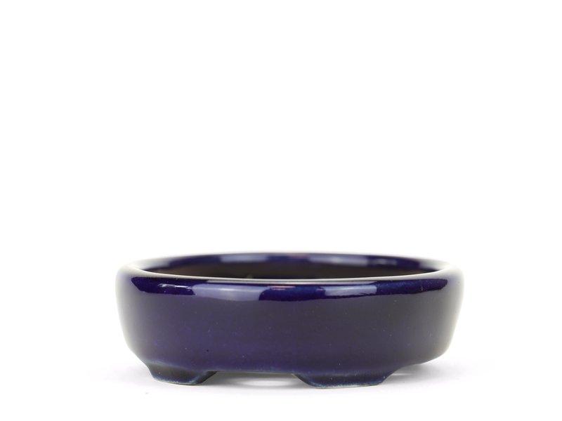 Ovale blauwe Yozan bonsaipot - 92 x 80 x 25 mm