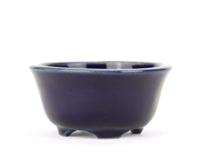 Ronde blauwe Yozan bonsaipot - 83 x 83 x 45 mm