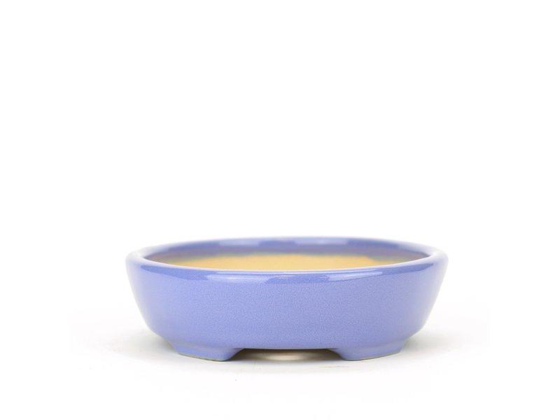 Ovale blauwe Yozan bonsaipot - 130 x 110 x 30 mm