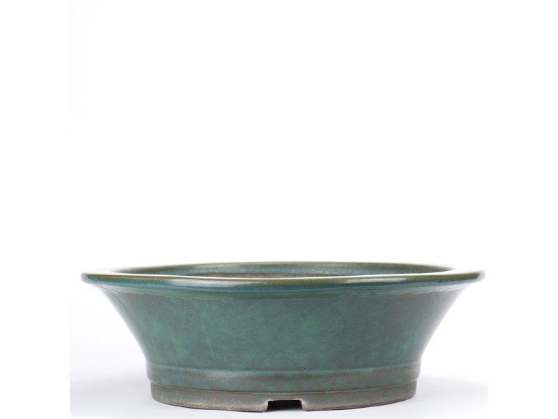 Ronde groene bonsaipot van Yamaaki - 363 x 363 x 112 mm