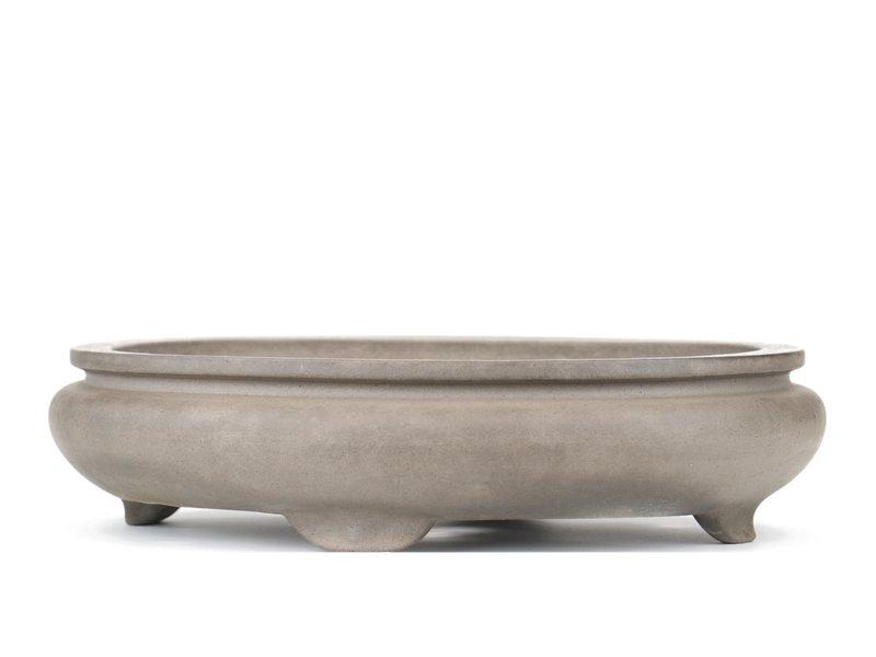 Ovale grijze bonsaipot van Keizan - 370 x 280 x 90 mm