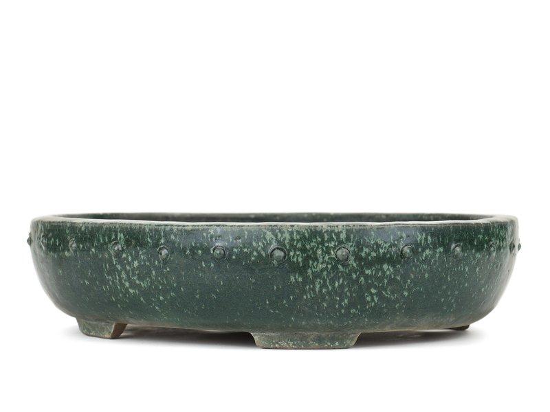 Ovale groene bonsaipot van Shuhou - 390 x 320 x 90 mm