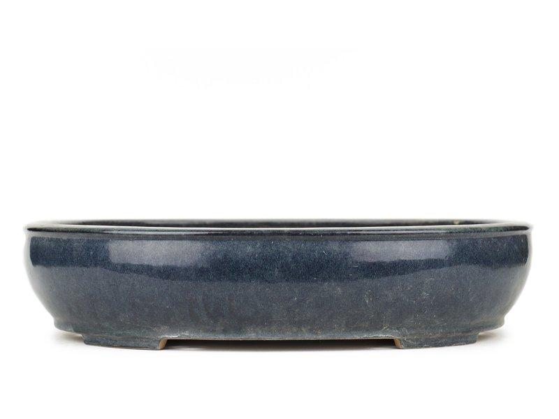 Oval blue bonsai pot by Reiho - 450 x 365 x 100 mm