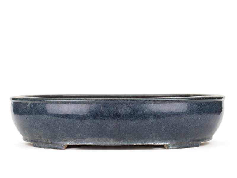 Ovale blauwe bonsaipot van Reiho - 450 x 365 x 100 mm