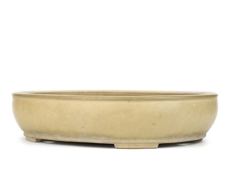 Ovale beige bonsaipot van Reiho - 440 x 360 x 100 mm