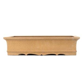 390 mm rectangular unglazed bonsai pot by Zenigo, Japan