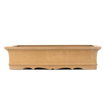 Maceta de bonsai rectangular sin esmaltar de 390 mm de Zenigo, Japón