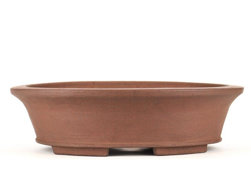 Oval unglazed bonsai pot by Shozan - 330 x 270 x 90 mm