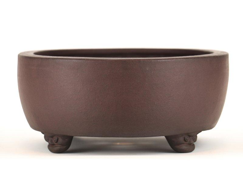 Oval unglazed bonsai pot by Yamaaki - 315 x 245 x 110 mm