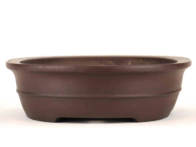 Oval unglazed bonsai pot by Yamaaki - 370 x 285 x 90 mm