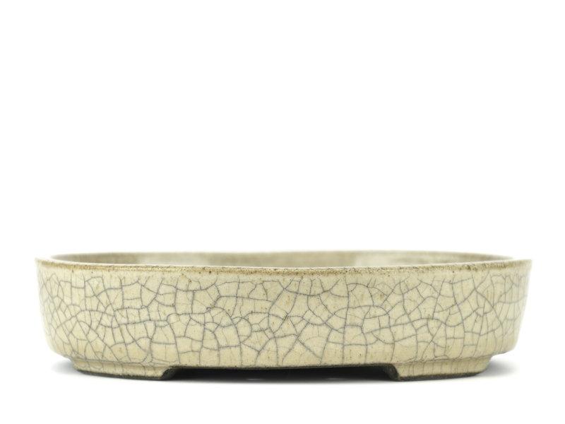 Ovale beige bonsaipot van Terahata Satomi Mazan - 155 x 130 x 35 mm