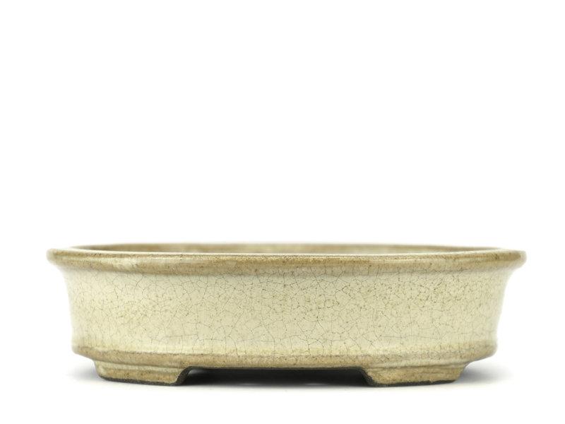 Ovale beige bonsaipot van Terahata Satomi Mazan - 140 x 115 x 38 mm