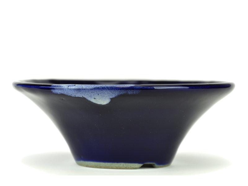 Ronde blauwe bonsaipot van Terahata Satomi Mazan - 185 x 185 x 70 mm