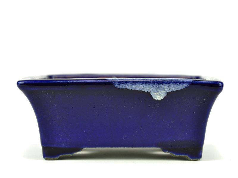 Rechthoekige blauwe bonsaipot van Terahata Satomi Mazan - 158 x 136 x 65 mm