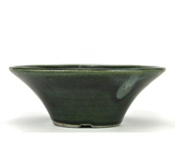 185 mm round green bonsai pot by Terahata Satomi Mazan, Tokoname, Japan