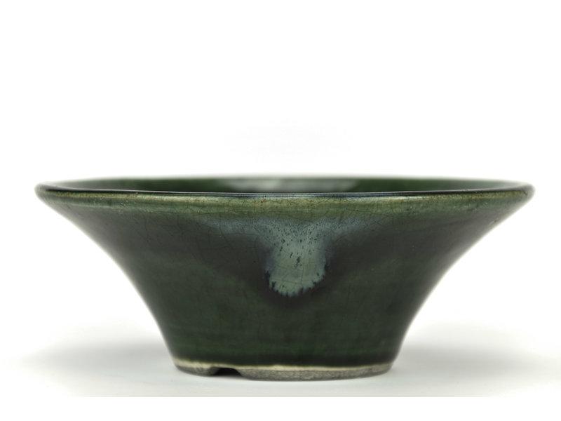 Ronde groene bonsaipot van Terahata Satomi Mazan - 185 x 185 x 70 mm