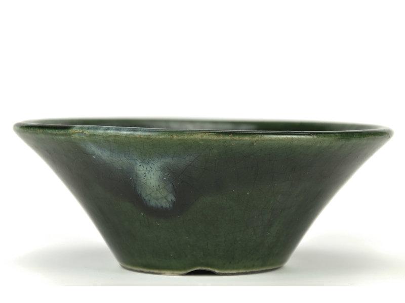 Ronde groene bonsaipot van Terahata Satomi Mazan - 195 x 195 x 75 mm