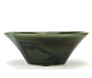 195 mm round green bonsai pot by Terahata Satomi Mazan, Tokoname, Japan