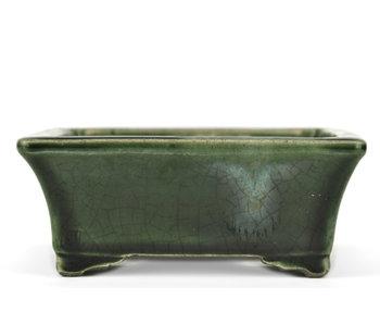 160 mm rectangular green bonsai pot by Terahata Satomi Mazan, Tokoname, Japan