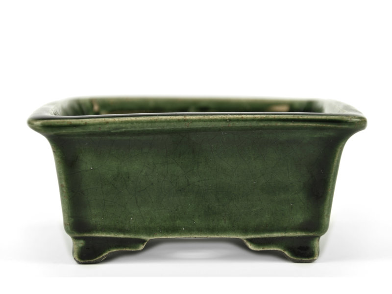 Rectangular green bonsai pot by Terahata Satomi Mazan - 150 x 141 x 63 mm