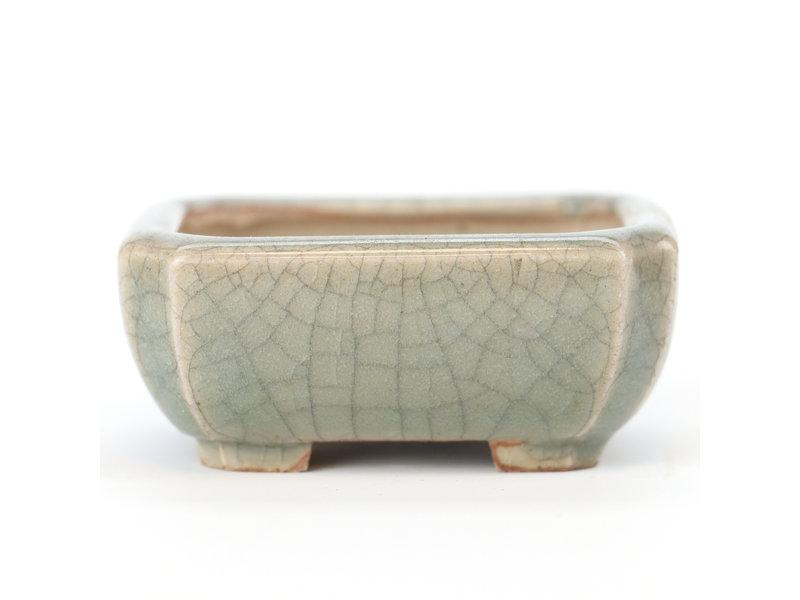 Rechthoekige celadon craquelé Eime Yozan bonsaipot - 60 x 50 x 25 mm