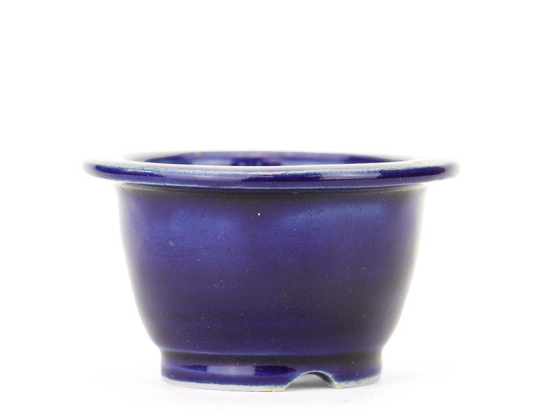 Ronde blauwe Yozan bonsaipot - 83 x 83 x 50 mm