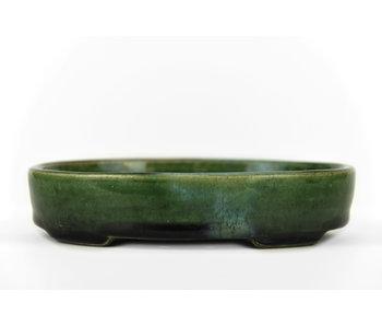 155 mm oval green bonsai pot by Terahata Satomi Mazan, Tokoname, Japan