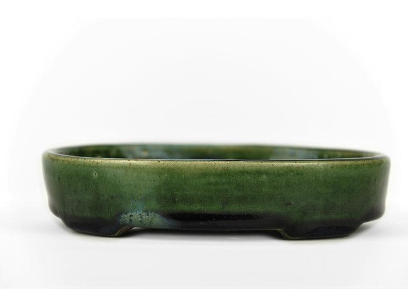 Ovale groene bonsaipot van Terahata Satomi Mazan - 155 x 130 x 34 mm