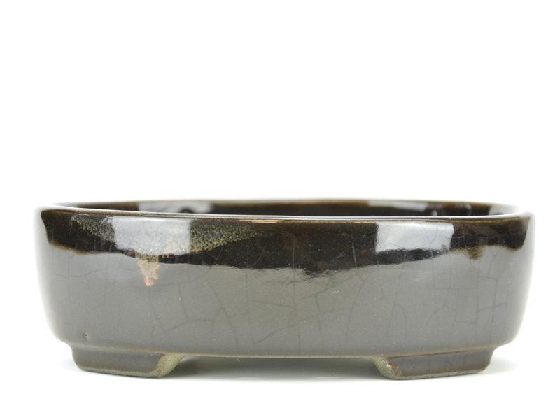 Oval black bonsai pot by Terahata Satomi Mazan - 160 x 132 x 50 mm