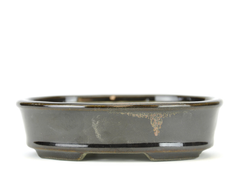 Oval black bonsai pot by Terahata Satomi Mazan - 135 x 111 x 37 mm